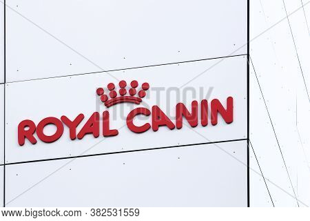 Amager, Denmark - August 3, 2019: Royal Canin Logo On A Wall. Royal Canin Manufactures And Supplies