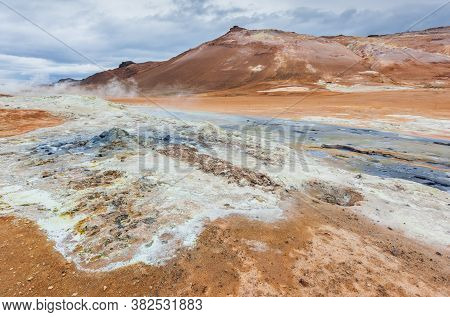 Iceland. Steaming Pools And Mudpots. The Namafjall (hverir) Geothermal Area.