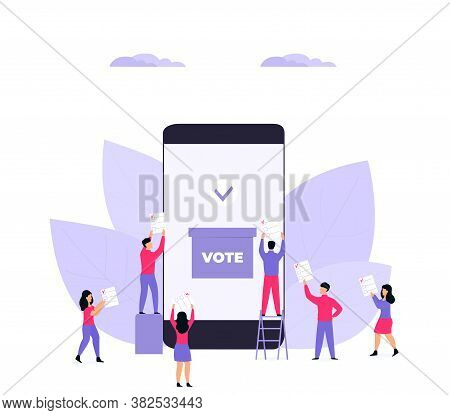 Remote Voting. Tiny Voters Near A Huge Smartphone Ballot Box Cast A Vote.