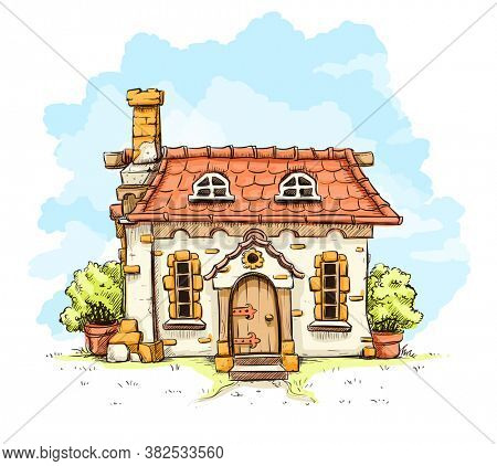 Entrance in old fairy-tale house with tiles roof. Isolated on white background. 3D illustration.