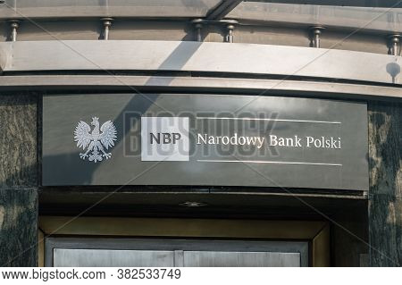 Rzeszow, Poland - June 13, 2020: Logo And Sign Of Narodowy Bank Polski (national Bank Of Poland, Nbp