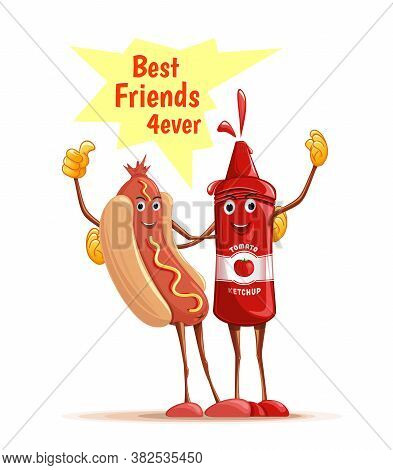 Cartoon Hotdog And Tomato Ketchup Cuddling. Best Friends Forever. Best Friends 4ever. Funny Characte
