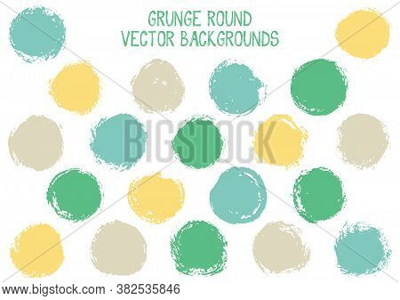 Vector Grunge Circles. Vintage Post Stamp Texture Circle Scratched Label Backgrounds. Circular Icon,