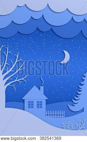 Winter Night Landscape With House, Trees And Snowdrifts. Merry Christmas And Happy New Year Paper Ar