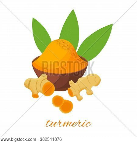 Turmeric Root, Leaves And Powder In Ceramic Plat, Isolated On White Background. Vector Cartoon Illus