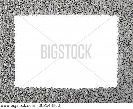 Grey Stones, Smooth Pebbles, Piles Of Rocks Outlined With Black, As Frame Around Rectangular Empty C