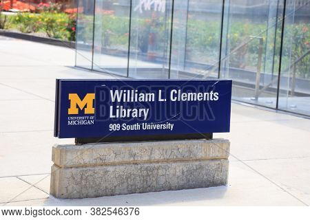ANN ARBOR, MI - AUGUST 09,2020:  The William L. Clements Library is a rare book and manuscript repository located on the University of Michigan's central campus in Ann Arbor, Michigan.