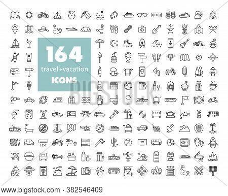 164 Travel Vacation Vector Icons Set. Graph Symbol For Travel And Tourism Web Site And Apps Design,