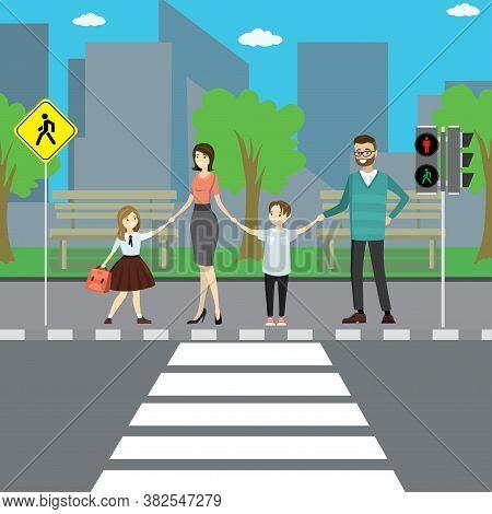Happy Caucasian Family On City Street, Crosswalk With Road Sign