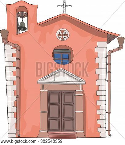Traditional Stone Italian Church Chapel Isolated On White Background.