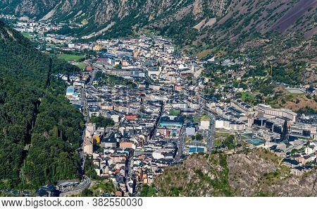 Cityscape Of The City Of Andorra La Vella From The Mountain. Andorra Principate, Europe.