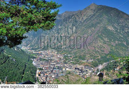 View Of The City Of Andorra La Vella From The Mountain. Andorra Principate.