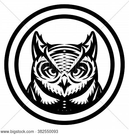 Vector Monochrome Illustration With Owl Head. Scalable Template.