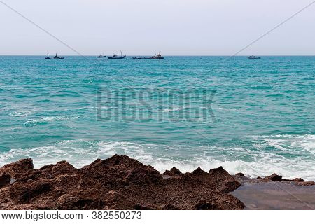 View Of The Ships In The Atlantic Ocean Near Morocco Coast In Sunny Day.