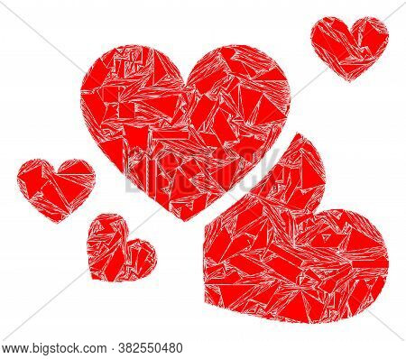 Debris Mosaic Love Hearts Icon. Love Hearts Mosaic Icon Of Debris Items Which Have Various Sizes, An