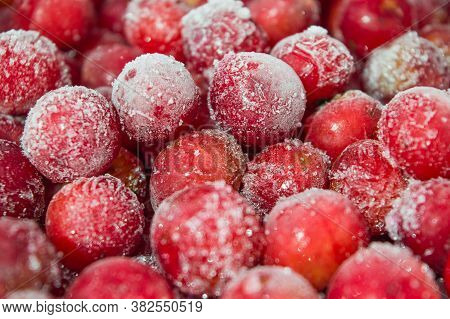 Frozen Red Cherries. Frost-covered Berries. Frost-covered Cherries. Red Cherry.