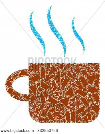 Fraction Mosaic Hot Tea Cup Icon. Hot Tea Cup Collage Icon Of Shatter Items Which Have Various Sizes