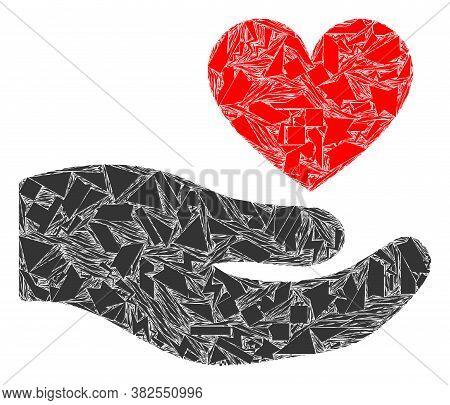 Debris Mosaic Palm Offer Love Heart Icon. Palm Offer Love Heart Mosaic Icon Of Debris Elements Which
