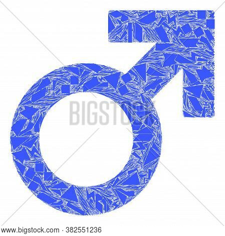 Shards Mosaic Male Symbol Icon. Male Symbol Mosaic Icon Of Fragment Elements Which Have Variable Siz