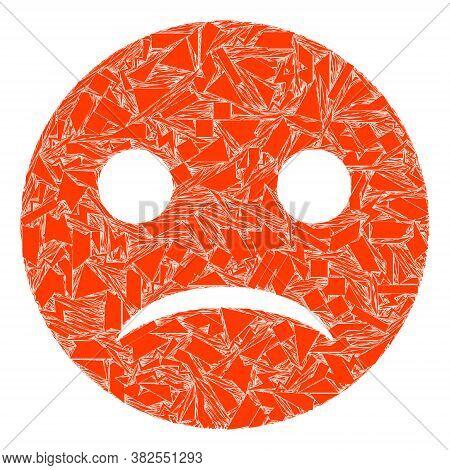 Debris Mosaic Sad Smiley Icon. Sad Smiley Collage Icon Of Debris Elements Which Have Randomized Size