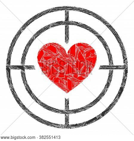 Spall Mosaic Love Target Icon. Love Target Mosaic Icon Of Shard Elements Which Have Randomized Sizes