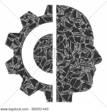 Debris Mosaic Cyborg Head Icon. Cyborg Head Collage Icon Of Shards Elements Which Have Randomized Si
