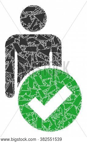 Shard Mosaic Valid Man Figure Icon. Valid Man Figure Mosaic Icon Of Shard Items Which Have Different