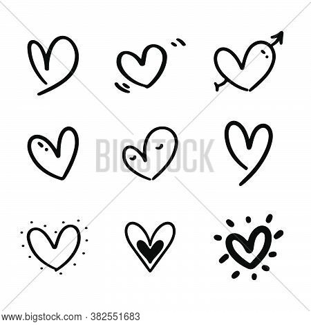 Set Of Nine Doodle Heart With Hand Drawn Style. Black Love Sketch Doodle Isolated On White Backgroun