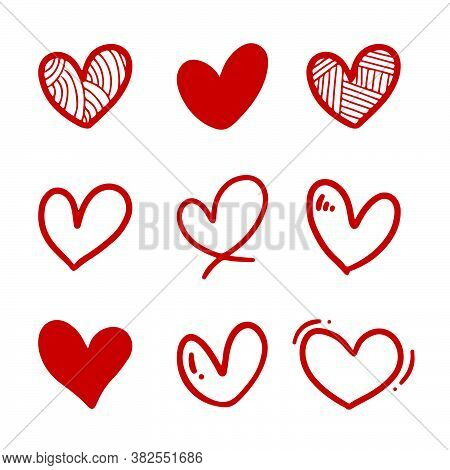 Set Of Nine Doodle Heart With Hand Drawn Style. Red Love Sketch Doodle Isolated On White Background