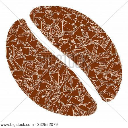 Spall Mosaic Coffee Bean Icon. Coffee Bean Mosaic Icon Of Spall Items Which Have Various Sizes, And