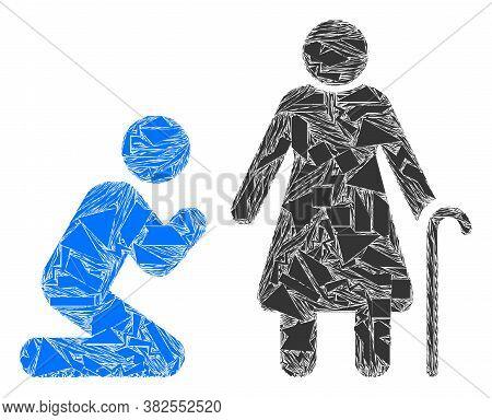 Debris Mosaic Man Pray For Grandmother Icon. Man Pray For Grandmother Mosaic Icon Of Debris Elements