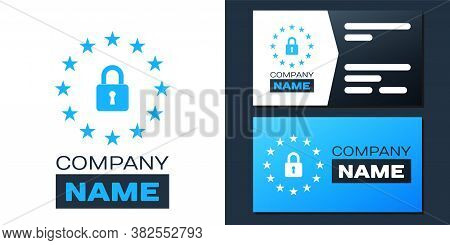 Logotype Gdpr - General Data Protection Regulation Icon Isolated On White Background. European Union