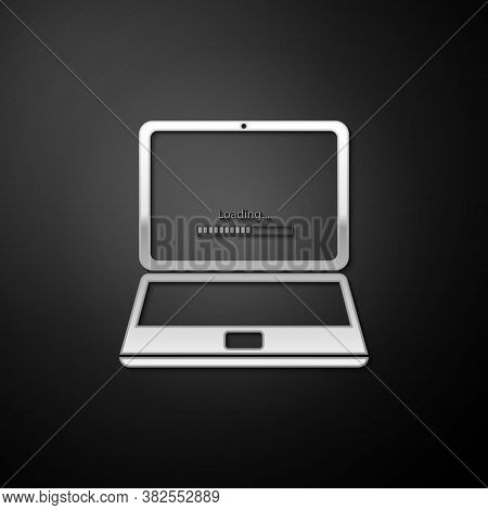 Silver Laptop Update Process With Loading Bar Icon Isolated On Black Background. System Software Upd
