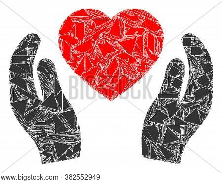 Spall Mosaic Romantic Heart Care Hands Icon. Romantic Heart Care Hands Mosaic Icon Of Spall Elements