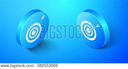 Isometric Target With Arrow Icon Isolated On Blue Background. Dart Board Sign. Archery Board Icon. D