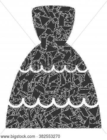 Debris Mosaic Bride Dress Icon. Bride Dress Mosaic Icon Of Debris Items Which Have Randomized Sizes,