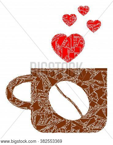 Debris Mosaic Lovely Coffee Cup Icon. Lovely Coffee Cup Collage Icon Of Debris Items Which Have Vari