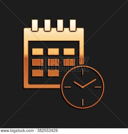 Gold Calendar And Clock Icon Isolated On Black Background. Schedule, Appointment, Organizer, Timeshe