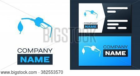 Logotype Bio Fuel Concept With Fueling Nozzle And Leaf Icon Isolated On White Background. Natural En