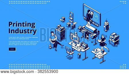 Printing Industry Banner. Typography Business, Polygraphy Service. Vector Landing Page Of Print Hous