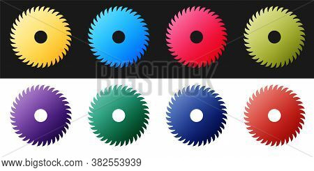 Set Circular Saw Blade Icon Isolated On Black And White Background. Saw Wheel. Vector