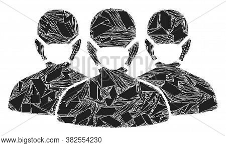 Debris Mosaic Mask People Group Icon. Mask People Group Mosaic Icon Of Debris Elements Which Have Di