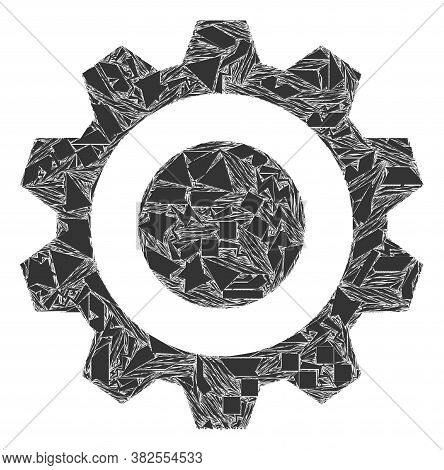 Debris Mosaic Gear Icon. Gear Mosaic Icon Of Debris Items Which Have Various Sizes, And Positions, A