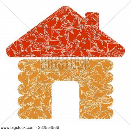 Debris Mosaic Wooden House Icon. Wooden House Mosaic Icon Of Debris Items Which Have Different Sizes