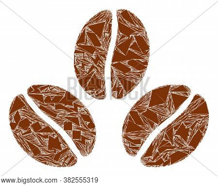 Debris Mosaic Cacao Beans Icon. Cacao Beans Collage Icon Of Debris Items Which Have Variable Sizes,