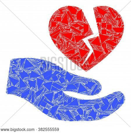 Shatter Mosaic Broken Heart Offer Hand Icon. Broken Heart Offer Hand Mosaic Icon Of Shatter Items Wh