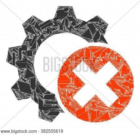 Detritus Mosaic Delete Settings Gear Icon. Delete Settings Gear Mosaic Icon Of Detritus Items Which