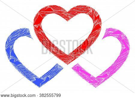 Spall Mosaic Triple Love Hearts Icon. Triple Love Hearts Collage Icon Of Spall Elements Which Have D