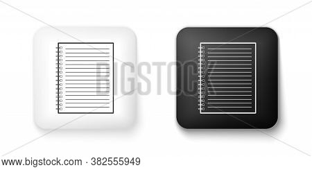 Black And White Notebook Icon Isolated On White Background. Spiral Notepad. School Notebook. Writing