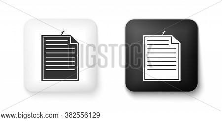 Black And White Note Paper With Pinned Pushbutton Icon Isolated On White Background. Memo Paper Sign